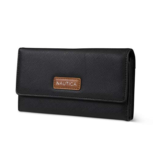 Nautica Money Manager RFID Women's Wallet Clutch Organizer (Black (Brown Patch))