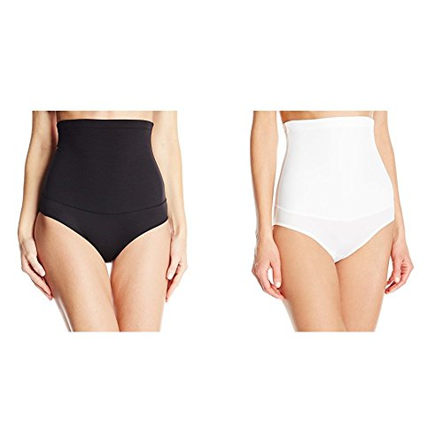 Flexees Maidenform Women's 2 Pack Shapewear Hi-Waist Brief Firm Control, Black/White, Large