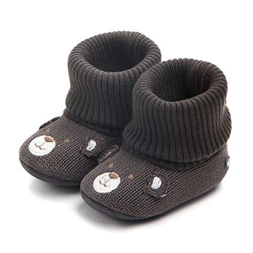 TRUEHAN Unisex Baby Infants Cute Animal Bear Kint Winter Slippers Booties Girls Boys Soft Warm Non-Slip First Walker 0-18 Month (12 cm / 6-12 Month, Black) - First Step Baby Store