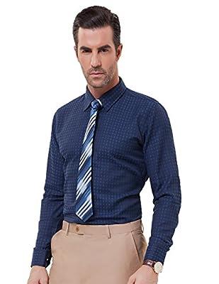 PAUL JONES Men's Jacquard Gingham Checkered Shirt Texture Smooth Dress Shirt