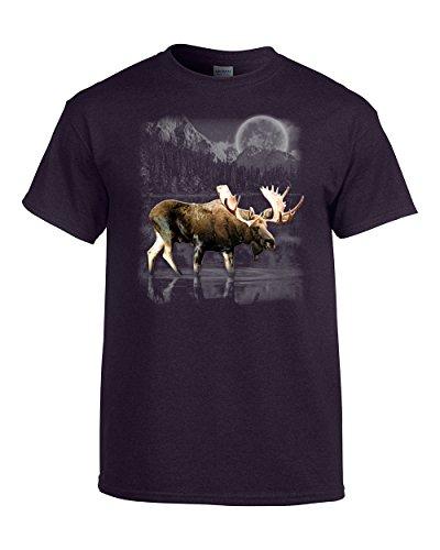 Moose Wilderness Moonlight & Mountains T-Shirt-BlackBerry-XL -