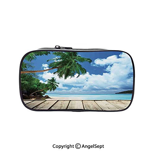 Pencil Holder with Handle Strap Handy Colored,Tropical Island Beach from The Deck Pier by The Ocean with PalmTrees Exotic Print Green Navy Brown 5.1inches,Large Capacity Students Stationery -