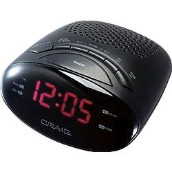 Craig 0.6-Inch LED PLL AM/FM Dual Alarm Clock Radio (CR45329b)