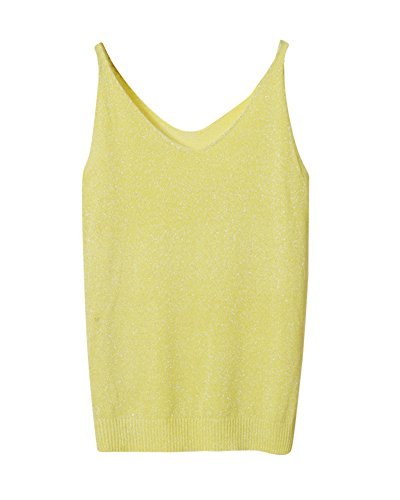 Waistcoat Neck Sans Vest Sweat Gilet Costumes Manches PengGeng Femme V Tricots Jaune B61UUq