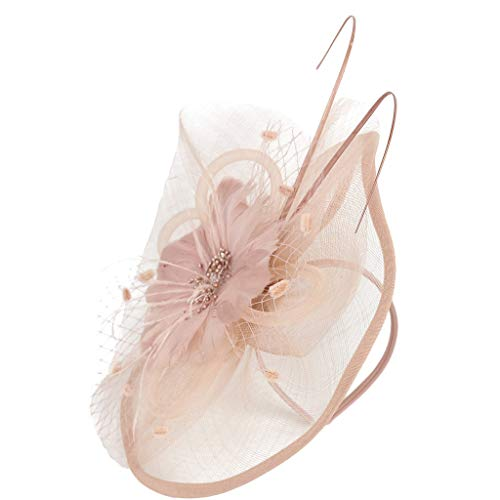 Women Girl Vintage Mesh Feathers Pompom Hair Clip Hairpin Hat for Cocktail Wedding Tea Party (Pink) ()