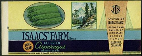 Asparagus Label - Isaacs Farm All Green Asparagus unused can label Ellendale DE 1940s