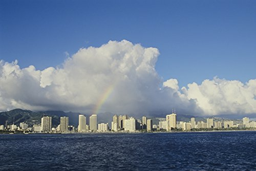 Posterazzi USA Hawaii Oahu Rainbow Over Waikiki Honolulu Poster Print, (34 x 22)