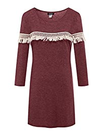 ZSHOW Women's Casual Loose Round-Neck Skin Fabric Tunic Dresses with White Lace