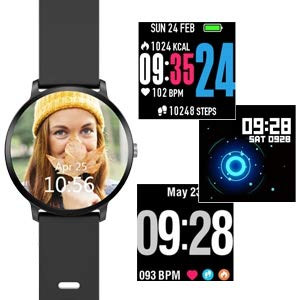 YoYoFit Smart Fitness Watch with Heart Rate Monitor, Waterproof Fitness Activity Tracker Step Counter with Music Player Control, Customized Face Look GPS Pedometer Watch for Women Men, Black by YoYoFit (Image #6)