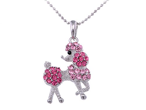 Alilang Silver Tone Rose Pink Rhinestones Poodle Puppy Dog Pendant Necklace