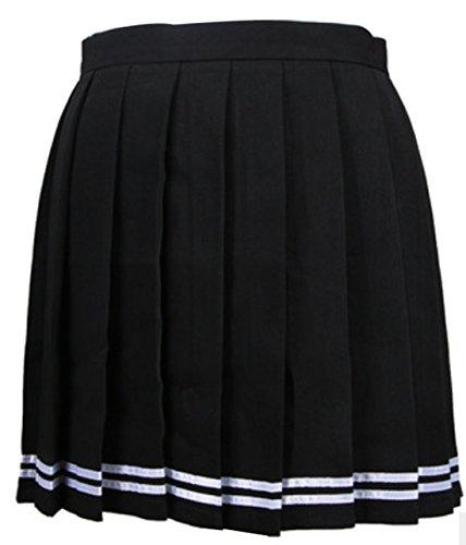 t Femme Haute Taille Mini Jupe Casual Fashion Couleur Unie Plisse Jupes de Soire Cocktail Party Gala Noir1