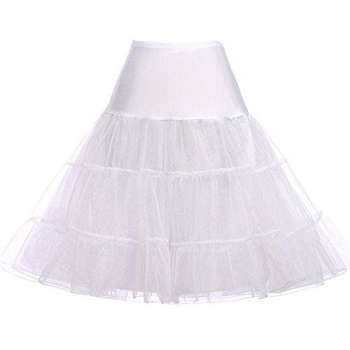 GRACE KARIN 50s White Petticoat for Vintage Prom Dress Net Petticoat Skirt Tutu Knee Length Size -