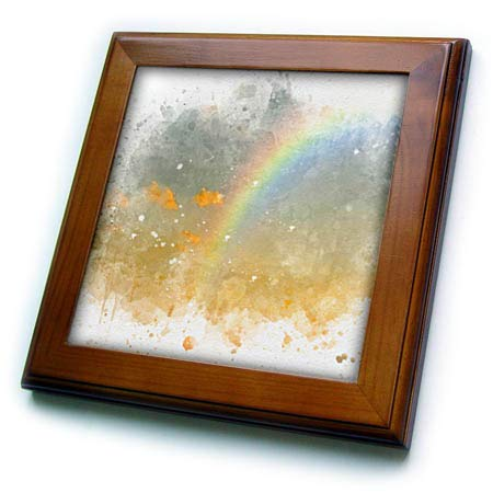 (3dRose Anne Marie Baugh - Impressionist Mixed Media Art - Image of Watercolor Rainbow Through The Clouds Art - 8x8 Framed Tile (ft_318706_1))