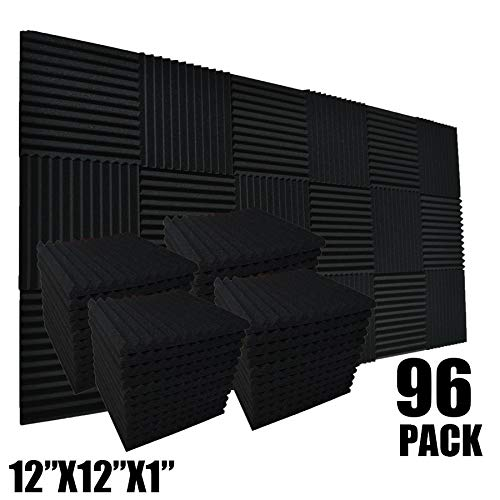 "96 Pack Allxinlog Absorb the echo Acoustic Foam Panel Wedge Studio Soundproofing Wall Tiles 12"" X 12"" X 1"" (96-BLACK)"