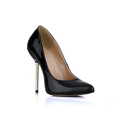 dans Black haut femmes femmes produits a cuir métal les à la chaussures de nouveaux célibataires chaussures LO souligné en talon Les noir verni avec xX1qPwgg