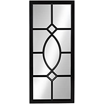 Silver square fretwork wood mirror wall art for Better homes and gardens baroque wall mirror black