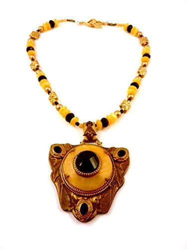 [Chunky Yellow and Black Necklace with Repurposed Vintage Brass Pendant Gemstones and Crystals] (Wench Womens Costumes)
