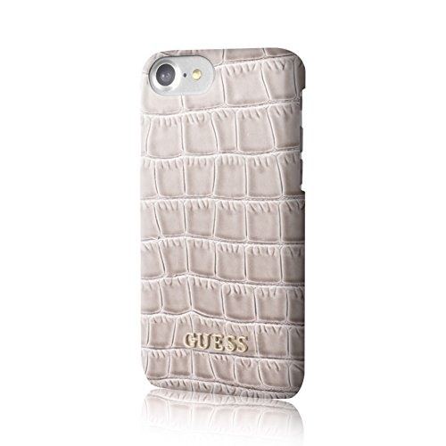 Guess GUHCP7SCOBE Croco PU Hart Schutzhülle für Apple iPhone 7 shiny beige