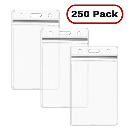 adge Holders, Vertical Hanging Card Holder with Zipper, Clear Bulk Nametag Holders (250 Pack) ()