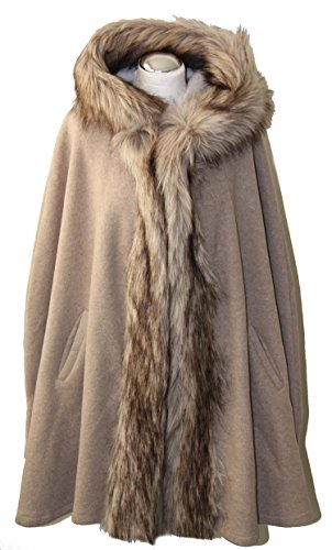Mantel Poncho Cape Wintermantel mit Kapuze und Fake Fur Fellkragen