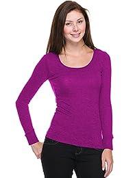 2LUV Plus Women's Hacci Scoop Neck Long Sleeve Top