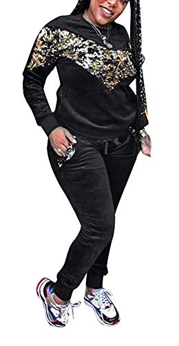 Lucuna Women 2 Pieces Sequins Pullover Hoodies Long Pants Sweatsuits Tracksuits Set, 24cblack, X-Large from Lucuna