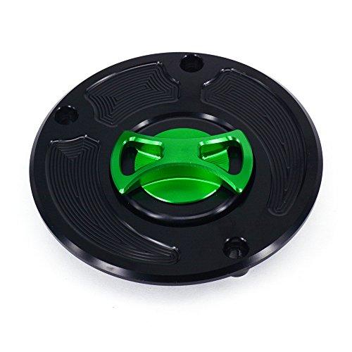 JFG RACING Green CNC Aluminum Billet Keyless Twist off Gas Fuel Tank Cap For KAWASAKI ZX6R ZX10R ZX14 Z1000 ER6N Z750 Concours