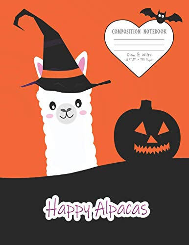 Composition Notebook: With Picture Space And Primary Ruled Lines To Draw And Write; Happy Alpacas The Wizard & Pumpkin Design, 130 Pages -