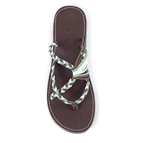 Plaka Flip Flops Slide Sandals for Women Green Taupe White 8 Oceanside - Green Flip Flops Sandals