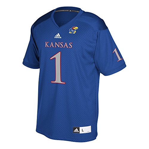 NCAA Kansas Jayhawks Adult Men Replica Football Jersey, Blue, X-Large