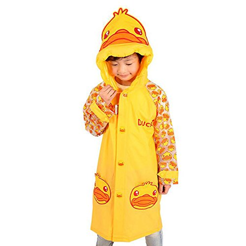 [Ezyoutdoor Unisex Kids Pink/Yellow Cute Duck Round Circles Children Hooded Raincoat Rain Jacket Poncho with School Bag Cover with Reflective Strip Children Raincoat Cartoon Poncho (Yellow,] (Super Mario Flower Power Costume)