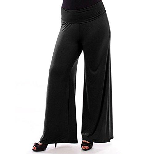 Popular Women's Plus Size Palazzo Stretchy Pants - Black -1X