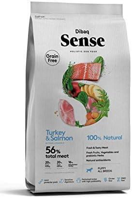 Dibaq Sense Grain Free Puppy Salmon & Pavo. Alimento 100% Natural para cachorros de perros.12 Kg.