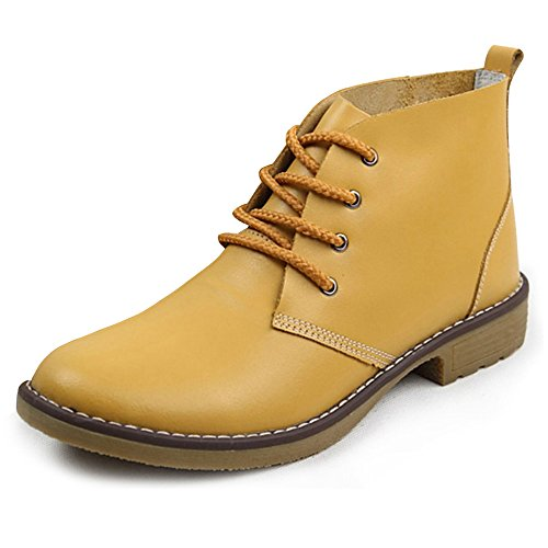 Feetmat Leather Ankle Boots For Women Lace Up Casual Oxfords Shoes Combat Boots Booties Leather Ladies Ankle Boot