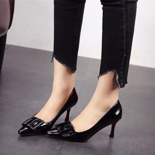 FLYRCX una pelle a scarpe ladies scarpe alti bella e con Primavera scarpe Asakuchi autunno tacchi F0wrxFfq