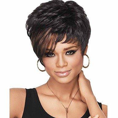 Peluca sintética para mujer, peluca negra corta, recta, pelo de ombre, peluca