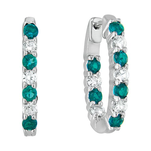 - Lab-created Emerald and White Sapphire Sterling Silver Inside-out Oval Hoop Earrings
