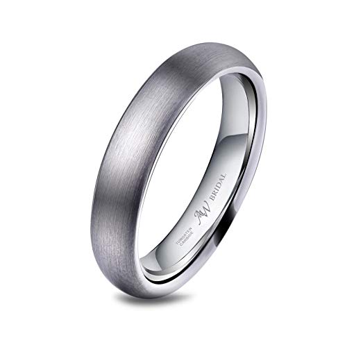 AW Tungsten Wedding Band Silver Ring 4mm for Men Women - Comfort Fit Brushed Engagement Band, Size 5.5