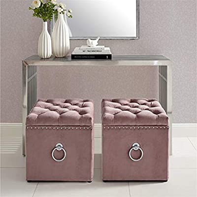 Brika Home Velvet Storage Ottoman in Blush and Chrome