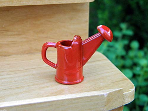 Danike Decor Miniature Dollhouse Fairy Garden Accessories Tiny Red Metal Watering Can