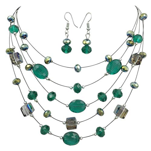 (Gypsy Jewels Multi Row Beaded Illusion Wire Lightweight Necklace and Dangle Earring Set (Green on Black))