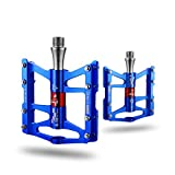 RockBros Advanved 4 Bearings Mountain Bike Pedals Platform Bicycle Flat Alloy Pedals 9/16'' Blue new
