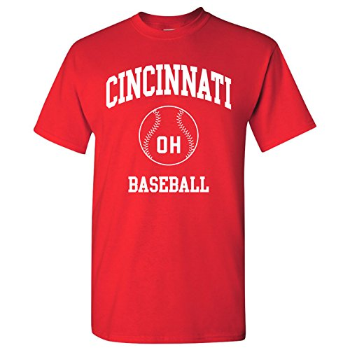 - Cincinnati Classic Baseball Arch Basic Cotton T-Shirt - Medium - Red