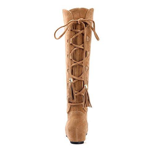 AgooLar Women's Solid Frosted Kitten-Heels Round-Toe Pull-On Boots Yellow nUPAM4