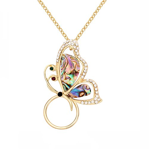 SenFai Abalone Paua Shell Butterfly Magnet Crystal Brooch Eyeglass Holder (Gold - Butterfly Shell Paua