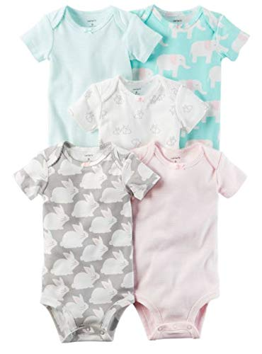 (Carters Baby Girls 5-Pack Bodysuits,Bunny/Elephant,12)