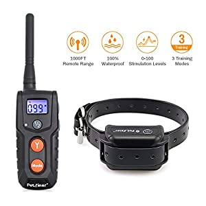 Petrainer PET916 100% Waterproof Dog Shock Collar with Remote 1000 ft Rechargeable Ecollar Dog Training with Beep Vibrating and Shock Collar for Dogs 40