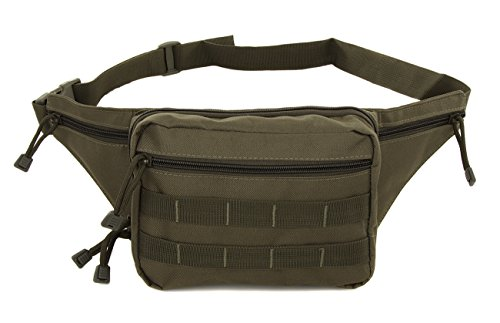 Mens Gun Pistol Pouch Carry Concealment Concealed Large Tactical Nylon Fanny Pack Olive Green with Key Ring Carabiner