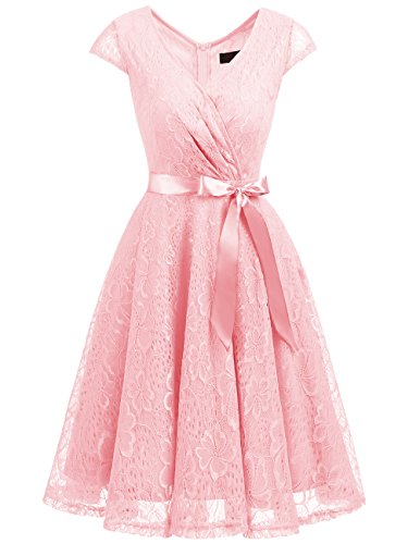 DRESSTELLS Women's Bridesmaid V Neck Ruched Dress Floral Lace Cocktail Dresses with Belt Pink L (Pale Pink Mother Of The Bride Outfits)