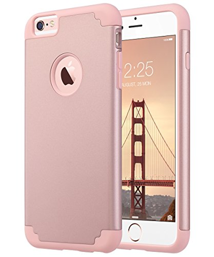 ULAK iPhone 6 Plus Case, iPhone 6S Plus Case, Slim Dual Layer Soft Silicone and Hard Back Cover Anti Scratches Bumper Protective Case for Apple iPhone 6 Plus / 6S Plus 5.5 inch - Rose Gold (Iphone 6s Plus And 6 Plus Difference)